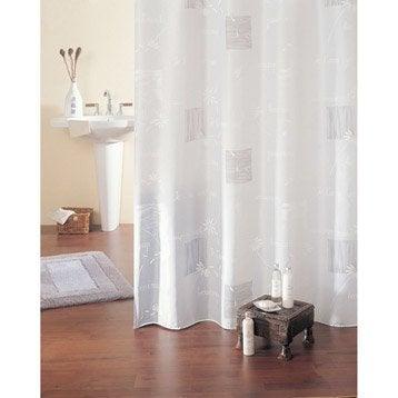 Rideau de douche en tissu maguy sensea blanc 180 x 200 cm - Rideau de douche leroy merlin ...