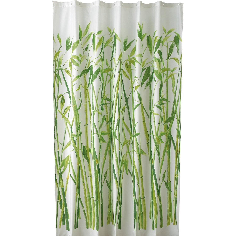 Rideau De Douche En Textile Vert L 180 X H 200 Cm Bali Sensea