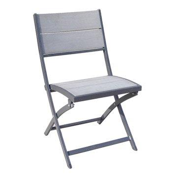 Chaise de jardin en aluminium pratt couleur gris naterial - Chaise jardin couleur ...