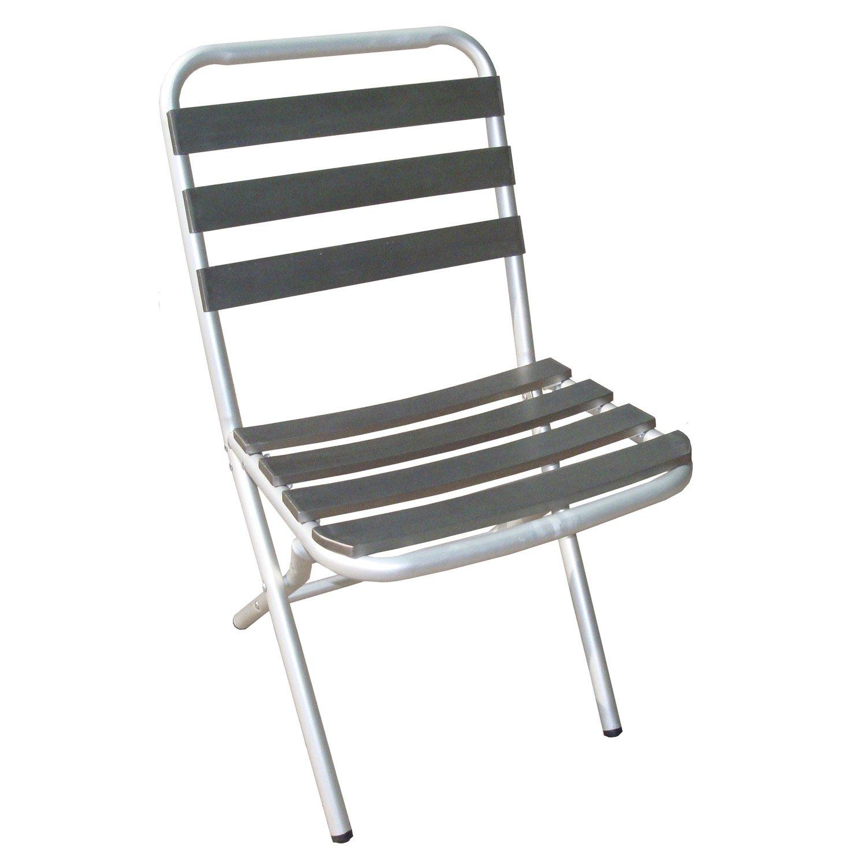 chaise de jardin en aluminium boston gris leroy merlin