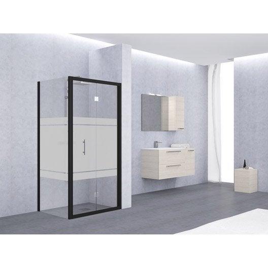 Porte de douche pliante 84 90 cm profil noir elyt for Porte de douche pliante 90 cm