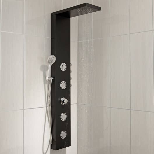 colonne de douche hydromassante avec robinetterie noir. Black Bedroom Furniture Sets. Home Design Ideas