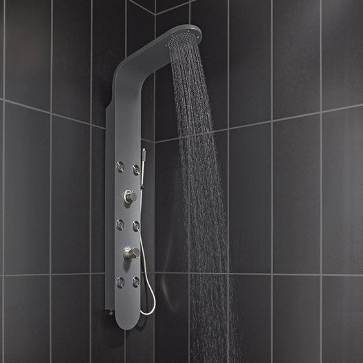 colonne de douche hydromassante avec robinetterie gris. Black Bedroom Furniture Sets. Home Design Ideas