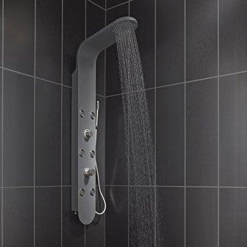 Colonne de douche hydromassante avec robinetterie, gris, Bali