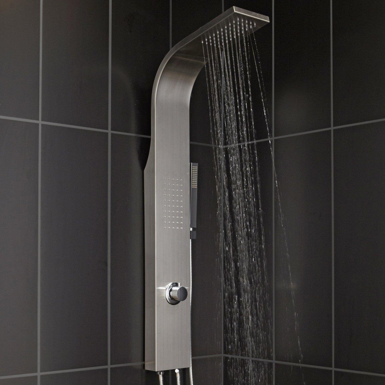 colonne de douche et bain hydromassante sans robinetterie gris natu leroy merlin. Black Bedroom Furniture Sets. Home Design Ideas