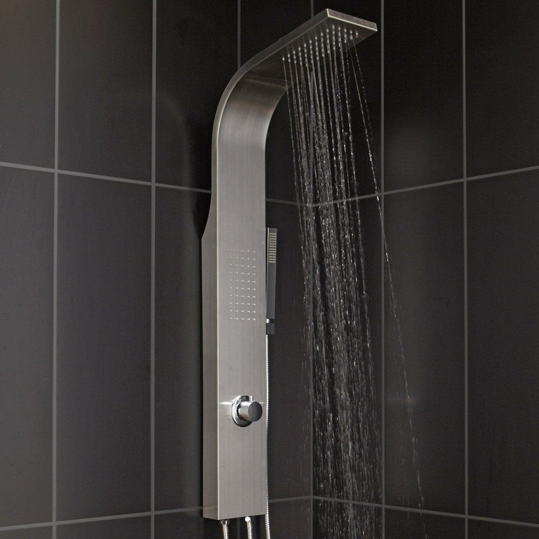 colonne de douche et bain hydromassante sans robinetterie gris natu - Colonne De Baignoire Leroy Merlin