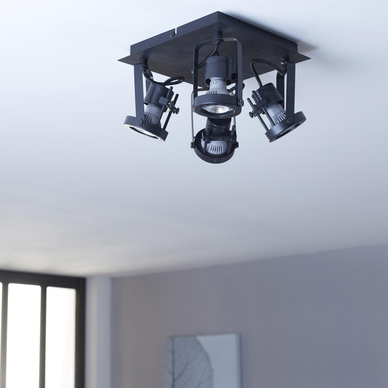 Plafonnier 4 spots industriel Technic, 4 xgu10 noir INSPIRE