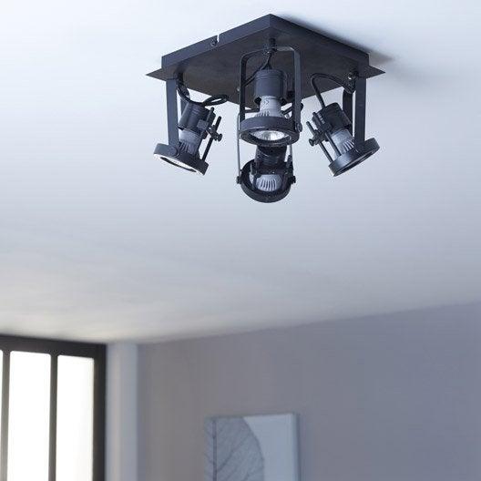 plafonnier 4 spots gu10 sans ampoule, 4, noir technic inspire