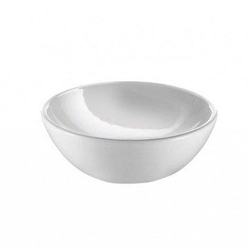 Lave-mains céramique rond blanc l.26 x P.26 cm, Copa