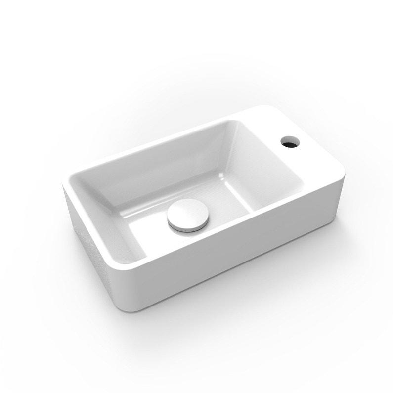 Lave Mains Résine Rectangle Blanc L 40 X P 23 Cm Smart