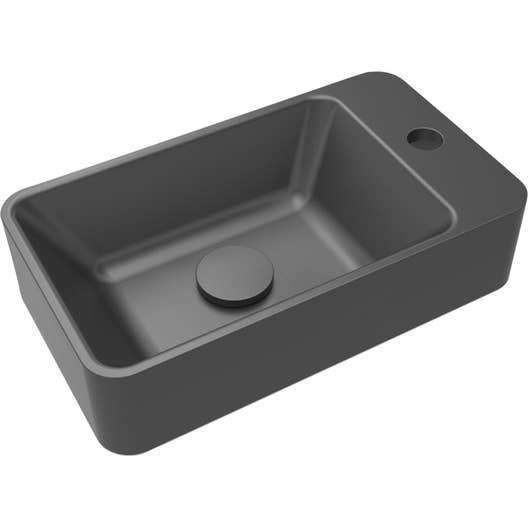 Lave-mains résine rectangle noir l.40 x P.23 cm, Smart | Leroy Merlin