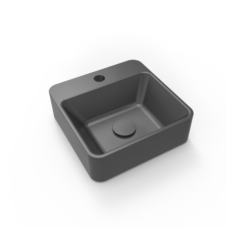 Lave-mains résine carré noir l.30 x P.30 cm, Smart