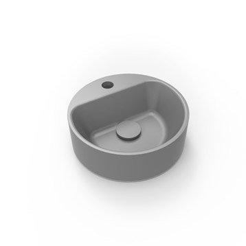 Lave-mains résine rond gris l.30 x P.30 cm, Smart