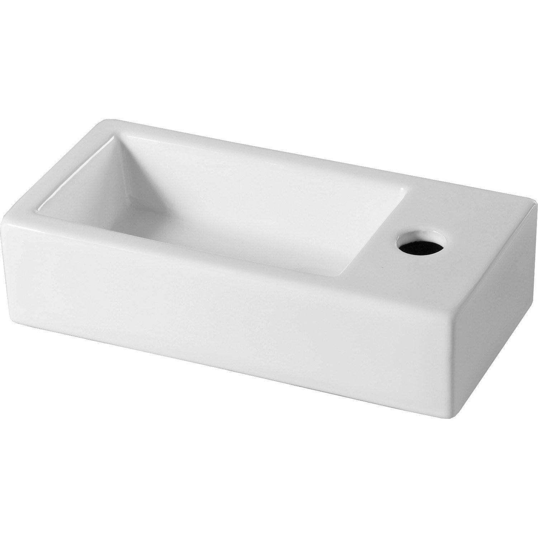 Lave-mains céramique l.38 x P.18.5 cm, Rabat