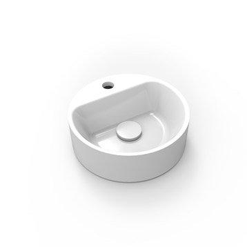 Lave-mains résine rond blanc l.30 x P.30 cm, Smart