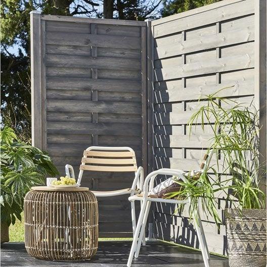 panneau bois occultant city x cm gris leroy merlin. Black Bedroom Furniture Sets. Home Design Ideas