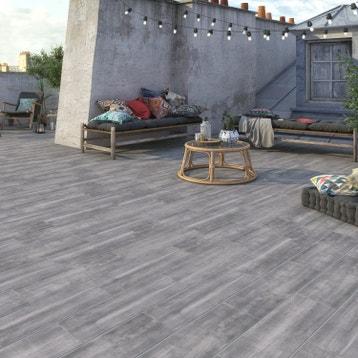 Carrelage sol et mur gris aspect bois apero l 20 x l 60 4 cm