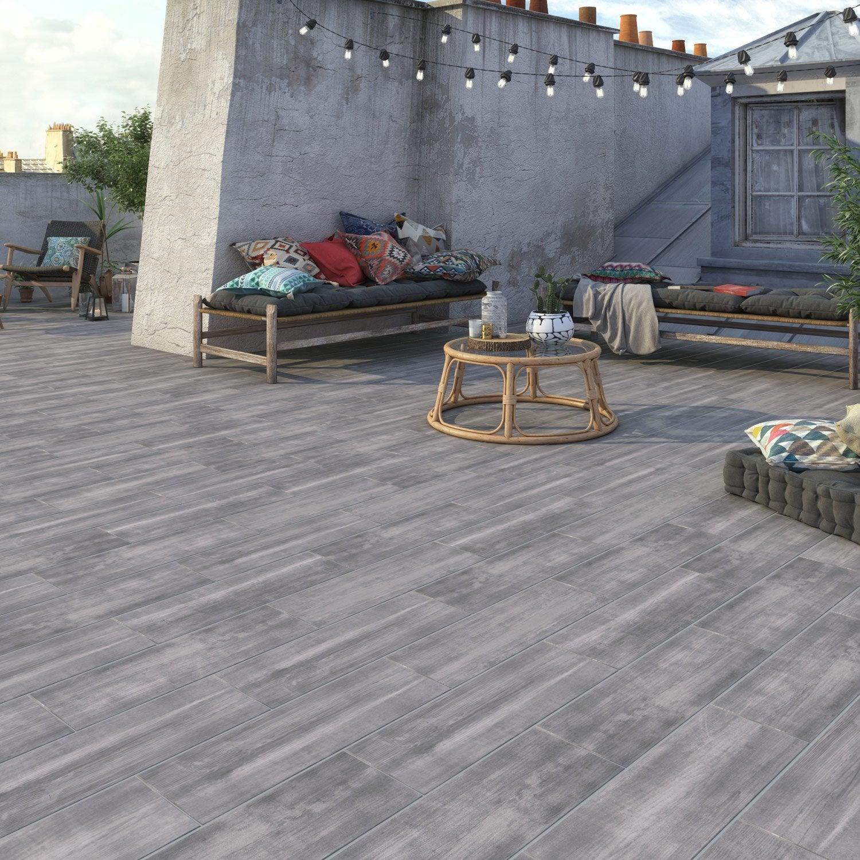 Carrelage Exterieur Imitation Bois carrelage sol extérieur forte effet bois gris apero l.20 x l.60.4 cm
