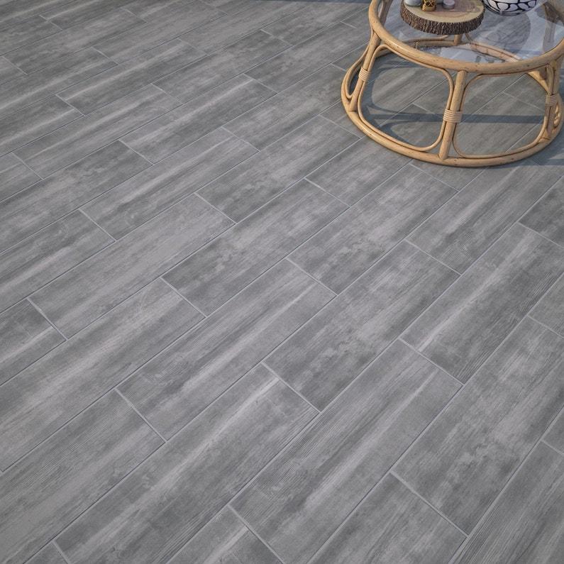 Carrelage sol et mur extérieur forte bois gris Apero l.20 x L.60.4 ...
