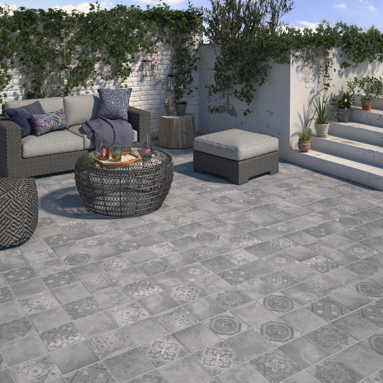 Carrelage Sol Extérieur Forte Effet Carreau De Ciment Gris Apero L.20 X L.