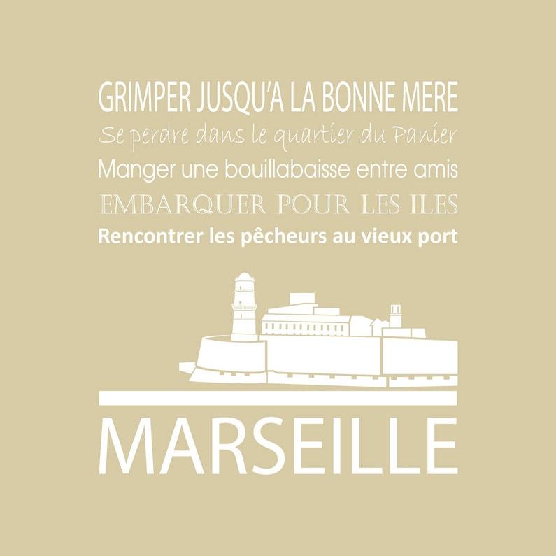 Toile Imprimée Marseille Beige Artis L30 X H30 Cm