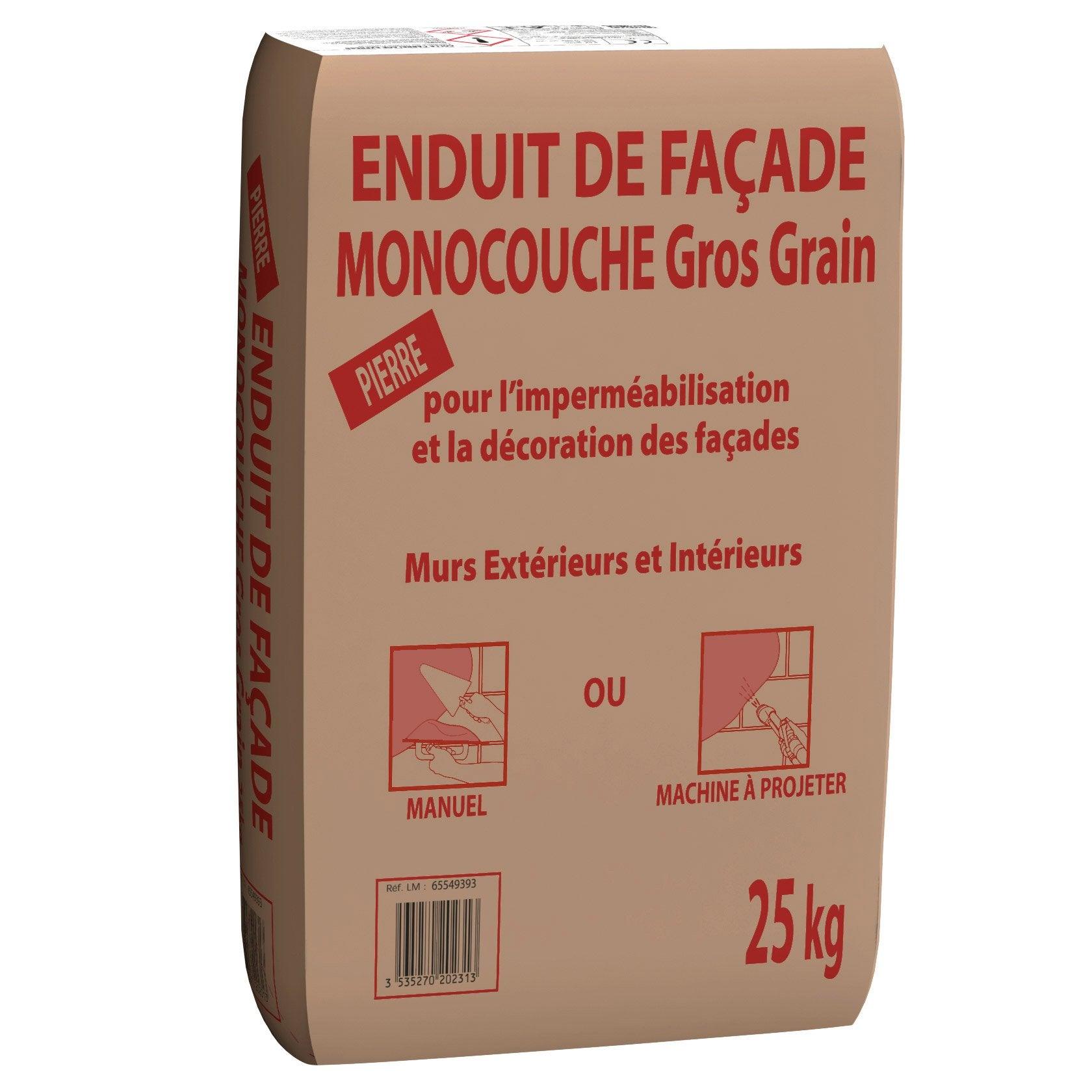 Epaisseur Enduit Sur Parpaing enduit monocouche ton pierre prb 25 kg