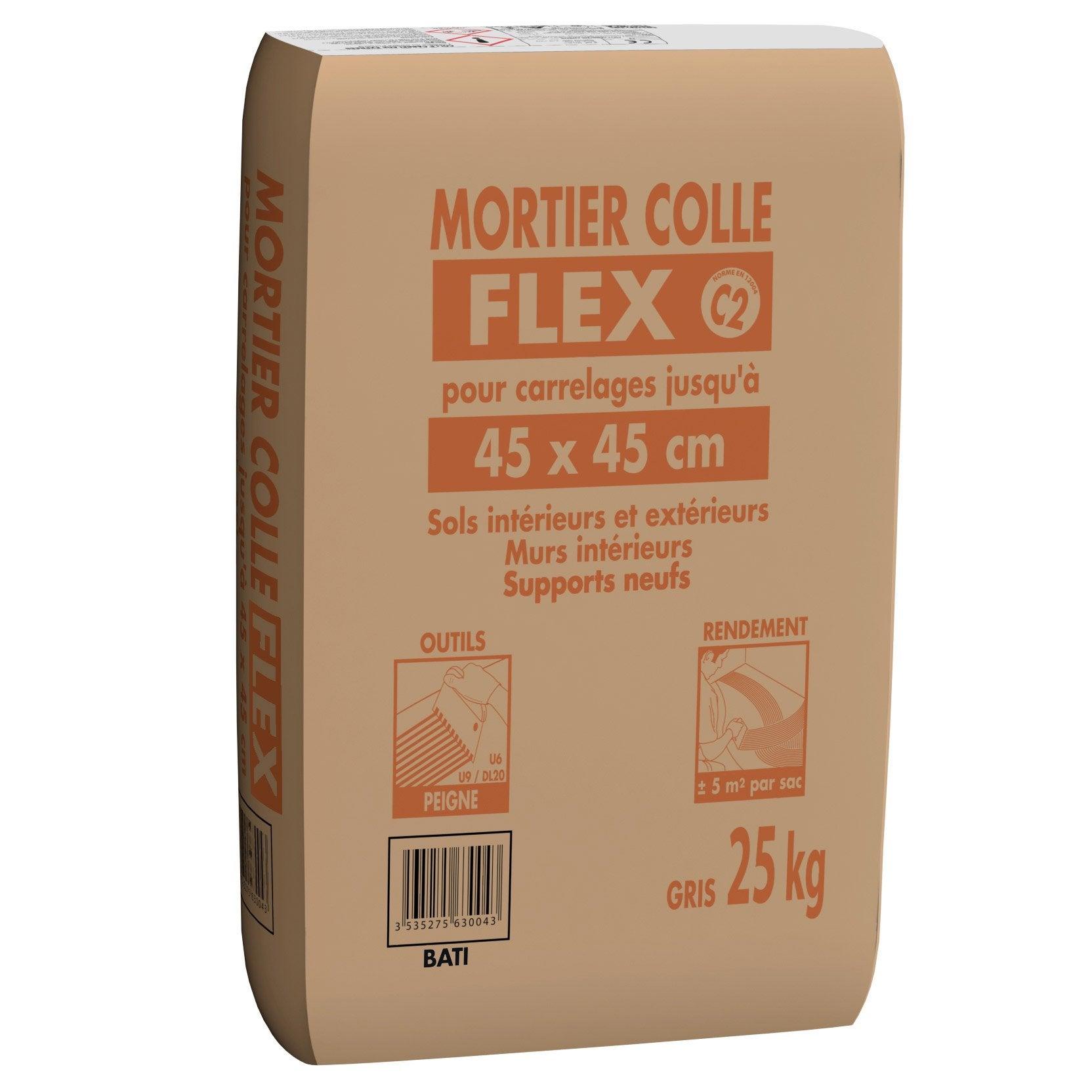 Comment Coller Du Bois Sur Du Ciment mortier colle flex spécial céram pour carrelage jusqu'à 45 x 45 cm gris, 25  kg