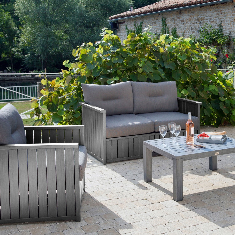 canap 2 places de jardin milano gris pro loisirs leroy merlin. Black Bedroom Furniture Sets. Home Design Ideas