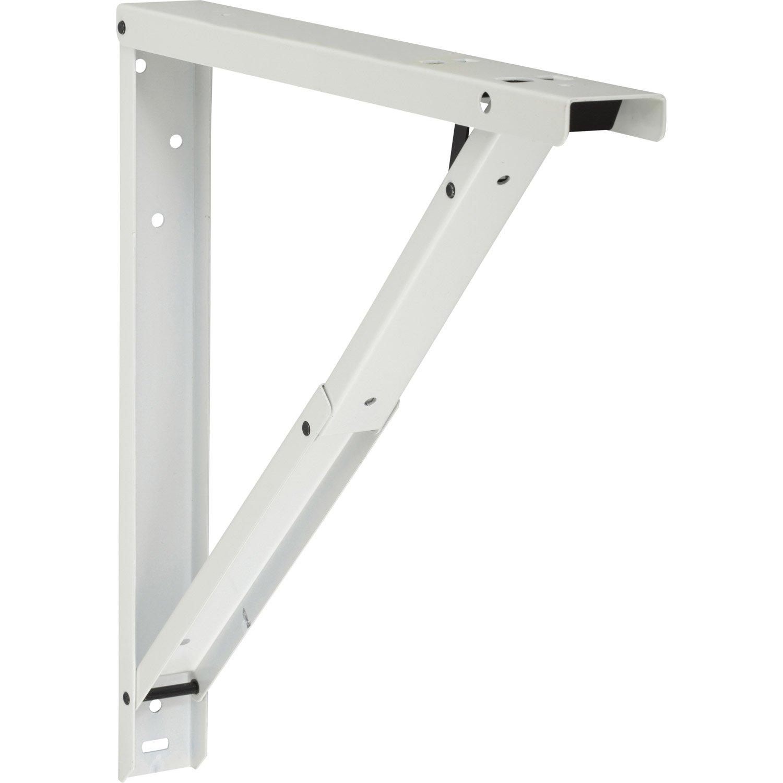 Equerre Abat-plan acier epoxy blanc, H.40 x P.40 cm | Leroy Merlin