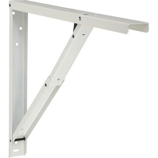 Querre rabattable abat plan en acier epoxy blanc 40 x for Equerre pour table rabattable