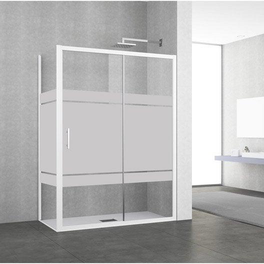 porte de douche coulissante 122 128 cm profil blanc elyt 2 pnx leroy merlin. Black Bedroom Furniture Sets. Home Design Ideas