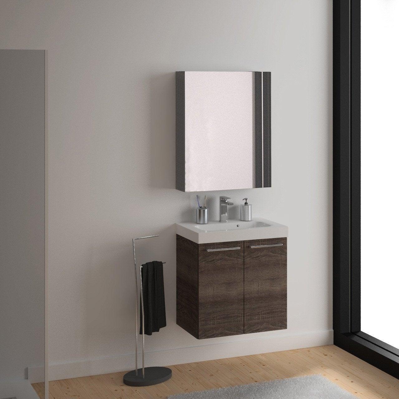 Meuble vasque 61 cm décor chêne havane, Remix   Leroy Merlin