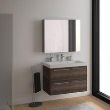 Meuble sous-vasque l.91 x H.57.7 x P.46 cm, imitation chêne, SENSEA Remix