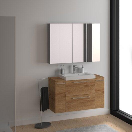 Meuble de salle de bains remix imitation ch ne 61x48 5 cm - Meuble salle de bain 2 vasques leroy merlin ...