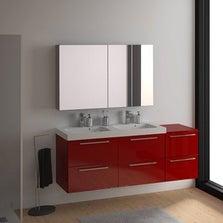 Meuble sous-vasque l.165 x H.57.7 x P.46 cm, rouge, SENSEA Remix