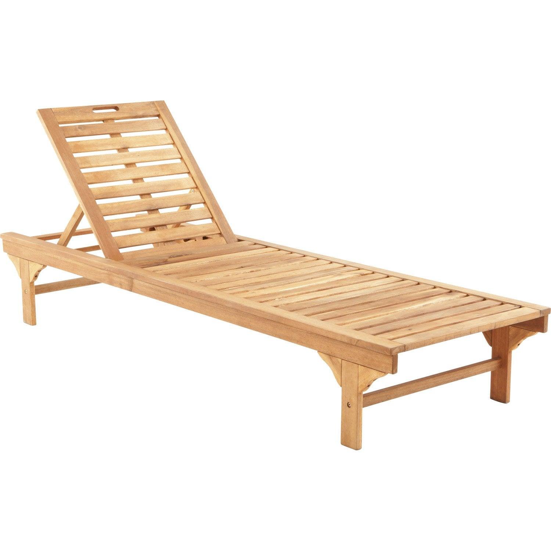 Bain de soleil de jardin en bois Porto brun | Leroy Merlin