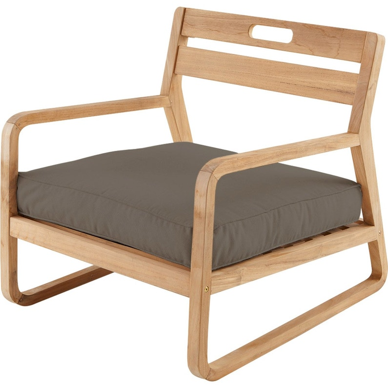 chaise basse de jardin en bois resort naturel - Chaise Basse