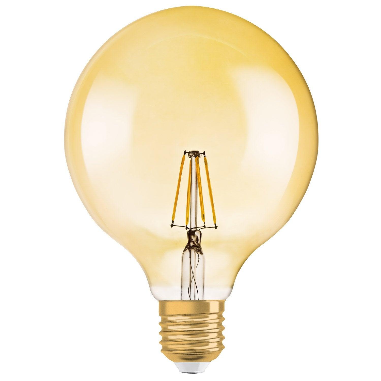 Led Filament Bulb Globe Dimmable 65w E27 650 Lm Equiv 51w 2400k Osram