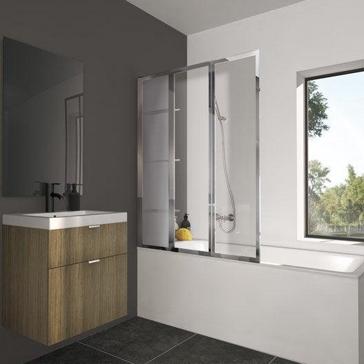 Pare baignoire salle de bains au meilleur prix leroy - Pare baignoire miroir ...