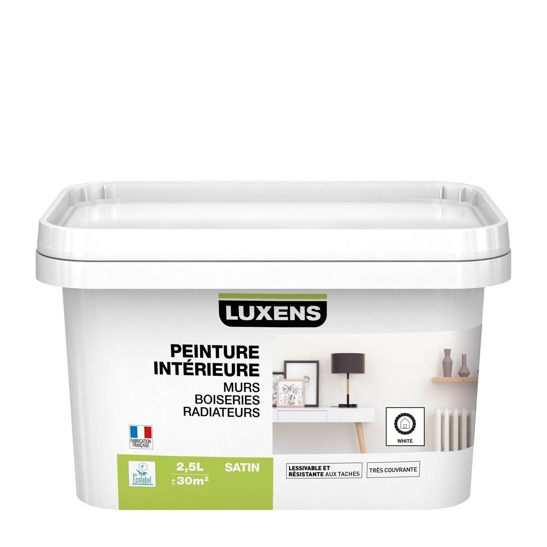 Peinture, mur, boiserie, radiateur, Multisupports LUXENS, blanc, satin, 2.5