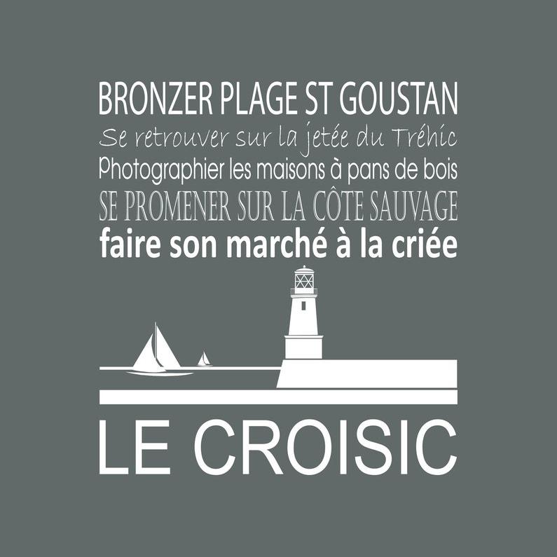 Toile Imprimée Le Croisic Gris Cendre Artis L30 X H30 Cm