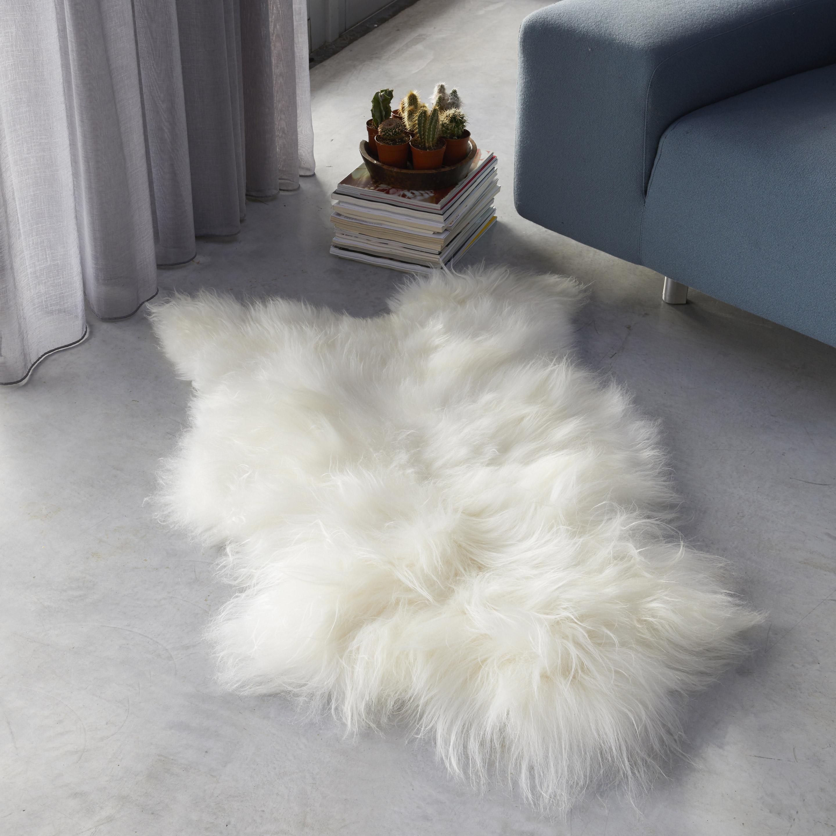 Tapis peau de mouton blanc sur-mesure Iceland