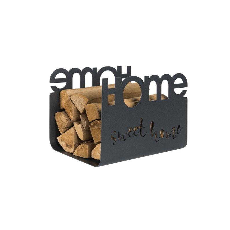 Panier à Bûches Noir Sable Home Sweet Home L40 X H30 Cm