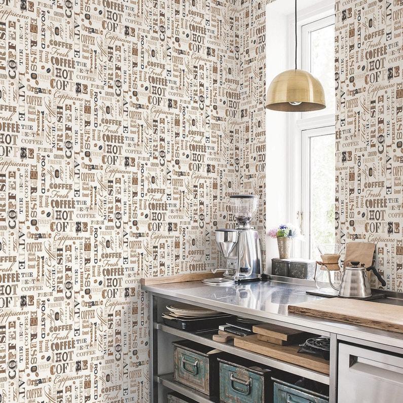 Papier Peint Vinyle Motif Cuisine Cafe Beige Marron Leroy Merlin