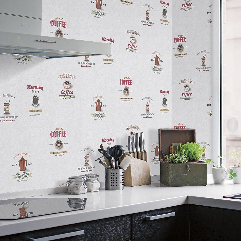 Papier Peint Pour Cuisine papier peint vinyle motif cuisine cafetières rouge