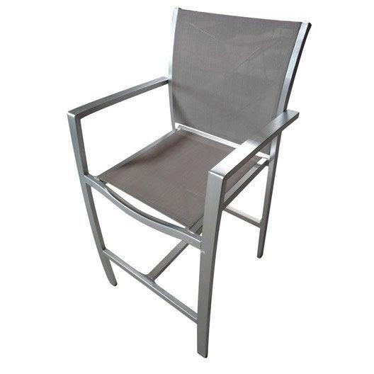 Chaise haute jardin en aluminium pacific structure argent for Chaise de jardin pvc