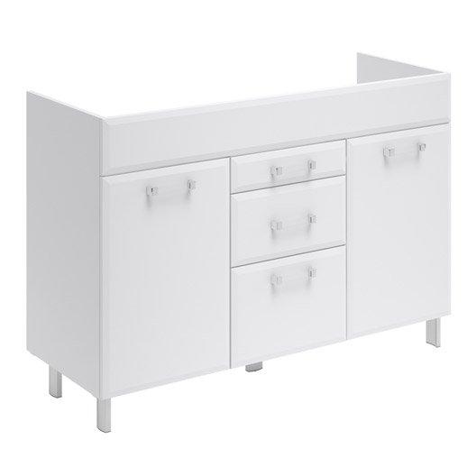 Meuble sous vasque opale blanc l120xh84xp45 2 cm 2 portes for Meuble 45 cm largeur