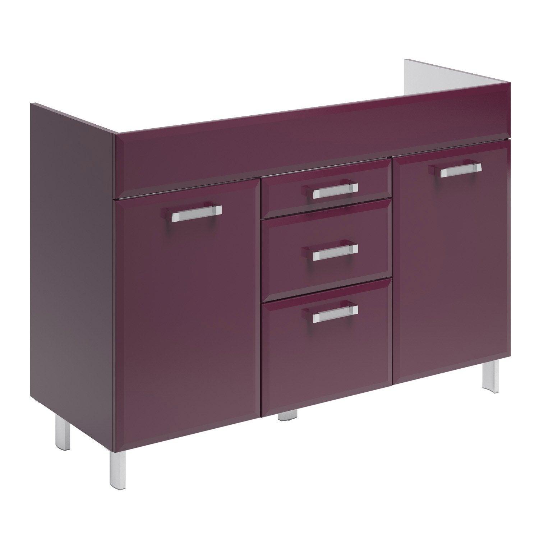 meuble sous vasque x x cm aubergine opale leroy merlin. Black Bedroom Furniture Sets. Home Design Ideas