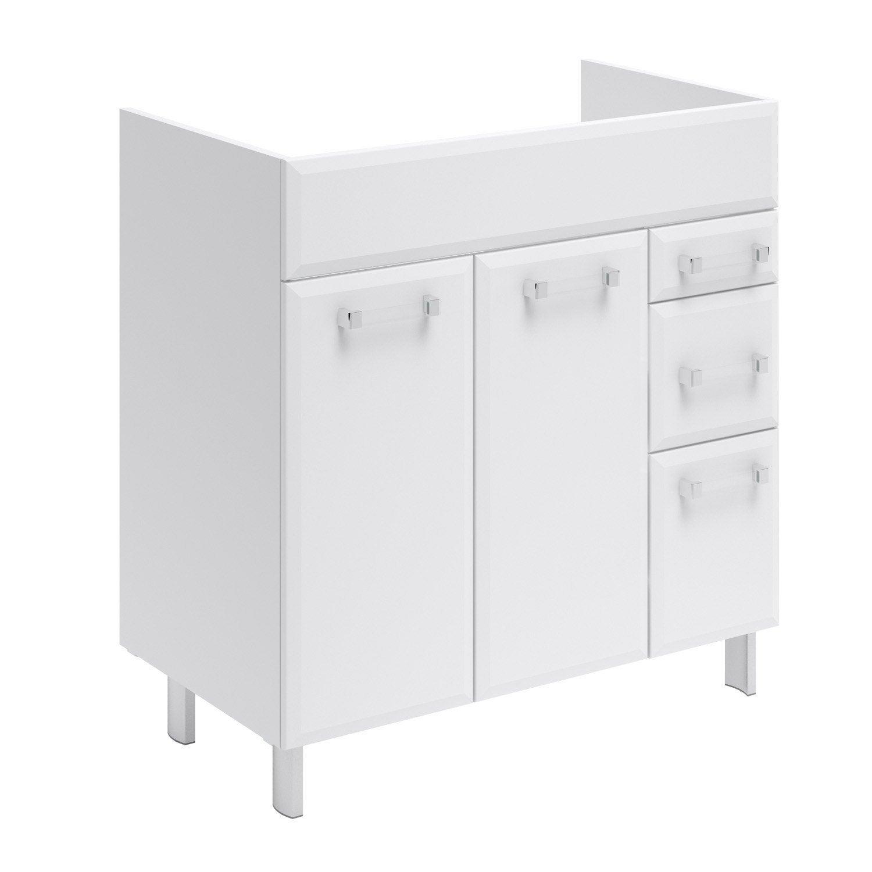 meuble sous-vasque l.80 x h.84 x p.45 cm, blanc, opale | leroy merlin