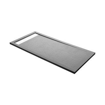 Receveur de douche rectangulaire L.140 x l.80 cm, résine gris Urban